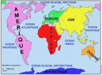 Carte continents et oceans 2
